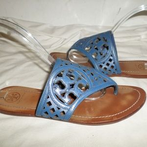 Tory Burch THATCHED Perforated Logo Sandals SZ 9